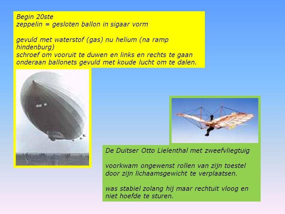 Begin 20ste zeppelin = gesloten ballon in sigaar vorm. gevuld met waterstof (gas) nu helium (na ramp hindenburg)