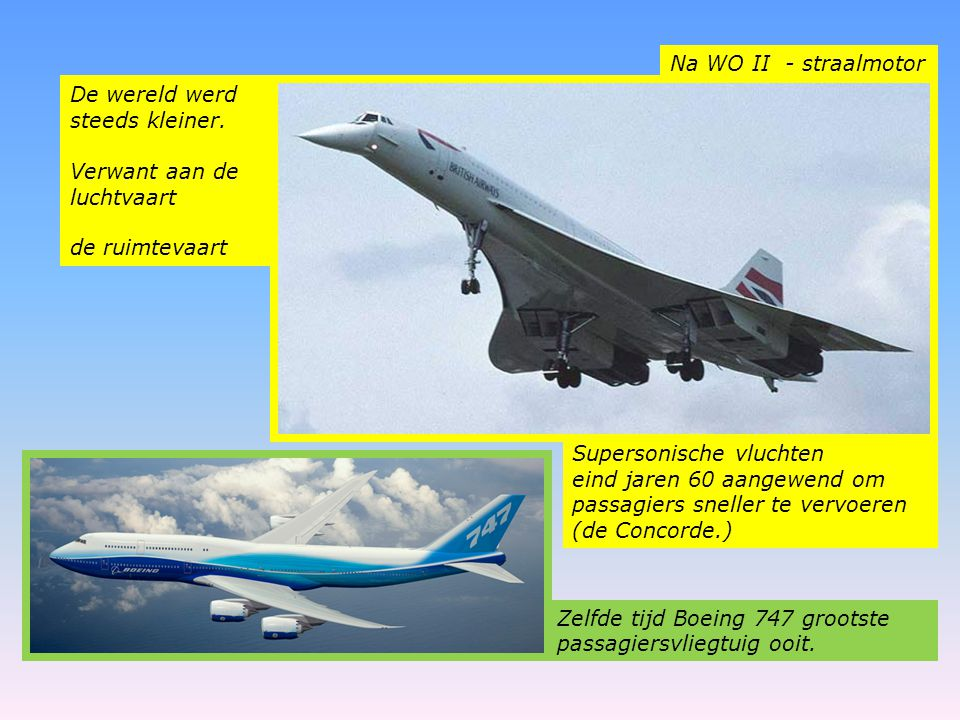 Na WO II - straalmotor De wereld werd steeds kleiner. Verwant aan de luchtvaart. de ruimtevaart.