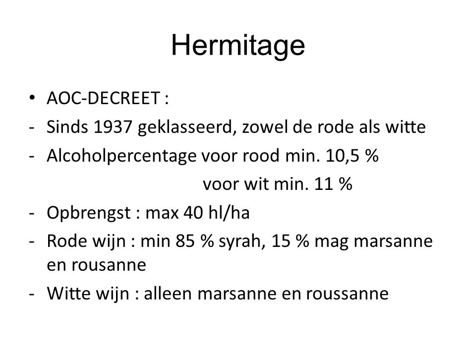 Hermitage AOC-DECREET :