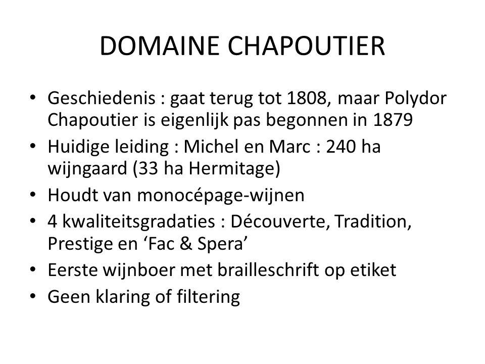 DOMAINE CHAPOUTIER Geschiedenis : gaat terug tot 1808, maar Polydor Chapoutier is eigenlijk pas begonnen in 1879.