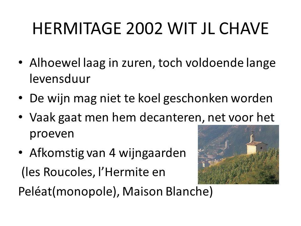 HERMITAGE 2002 WIT JL CHAVE Alhoewel laag in zuren, toch voldoende lange levensduur. De wijn mag niet te koel geschonken worden.