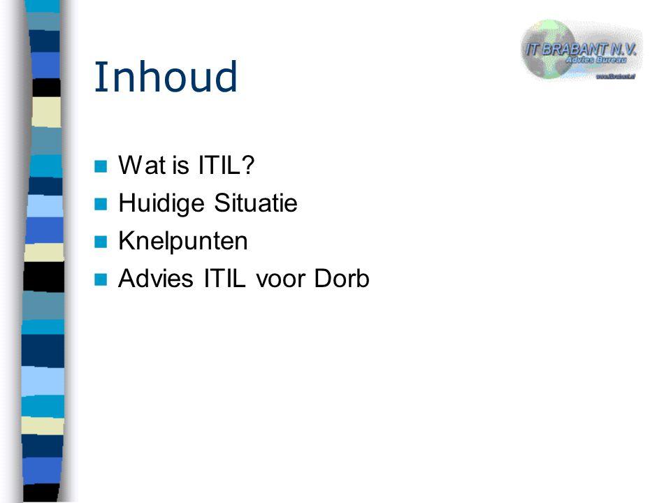 Inhoud Wat is ITIL Huidige Situatie Knelpunten Advies ITIL voor Dorb
