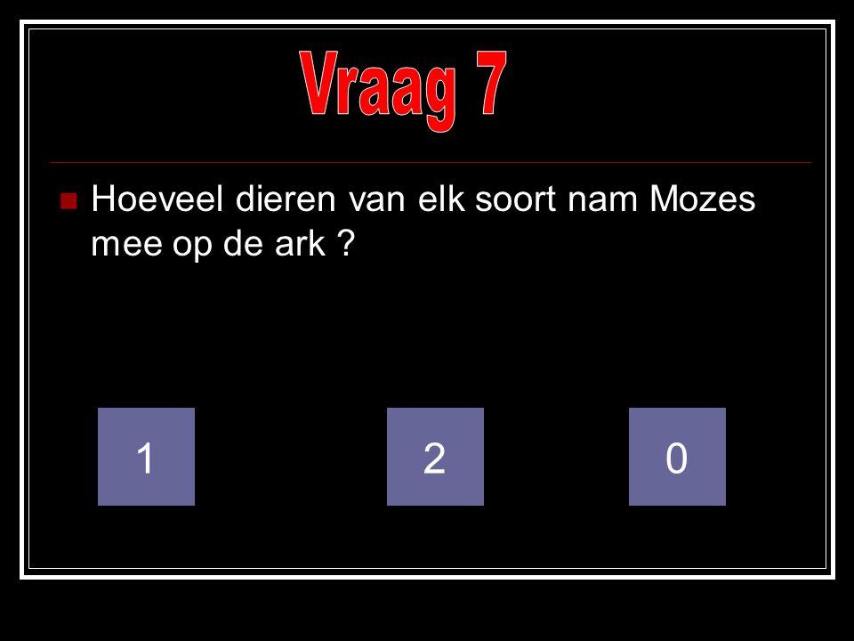 Vraag 7 Hoeveel dieren van elk soort nam Mozes mee op de ark 1 2