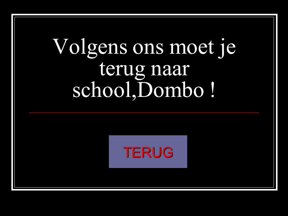 Volgens ons moet je terug naar school,Dombo !