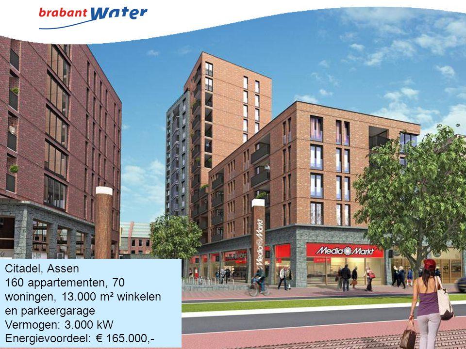 Citadel, Assen 160 appartementen, 70 woningen, 13.000 m² winkelen. en parkeergarage. Vermogen: 3.000 kW.