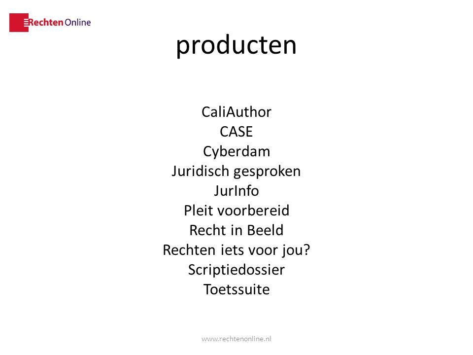 producten CaliAuthor CASE Cyberdam Juridisch gesproken JurInfo Pleit voorbereid Recht in Beeld Rechten iets voor jou Scriptiedossier Toetssuite