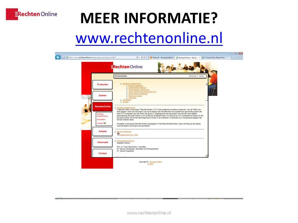 Meer informatie www.rechtenonline.nl