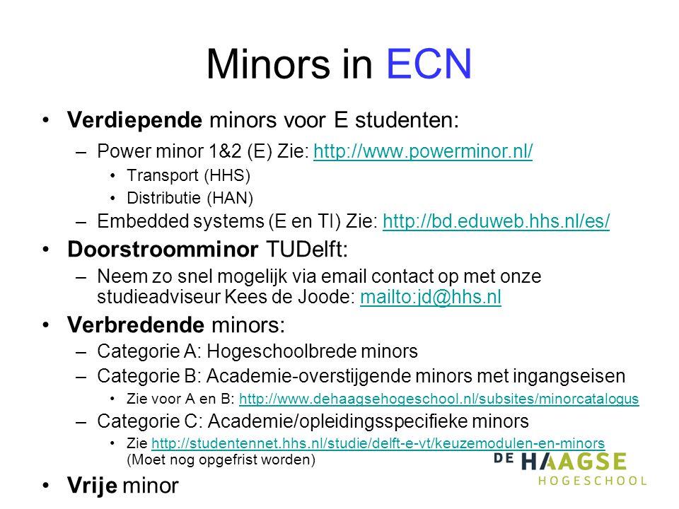 Minors in ECN Verdiepende minors voor E studenten: