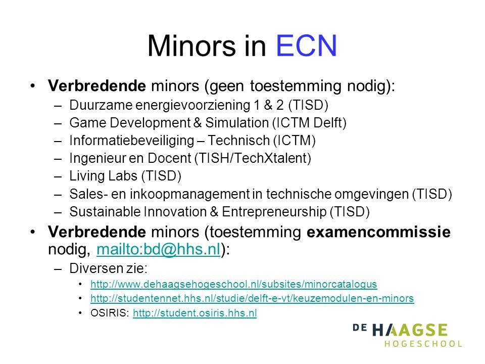 Minors in ECN Verbredende minors (geen toestemming nodig):