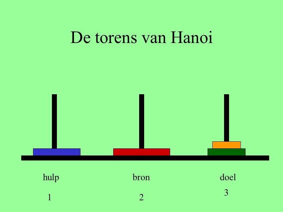 De torens van Hanoi hulp bron doel 3 1 2