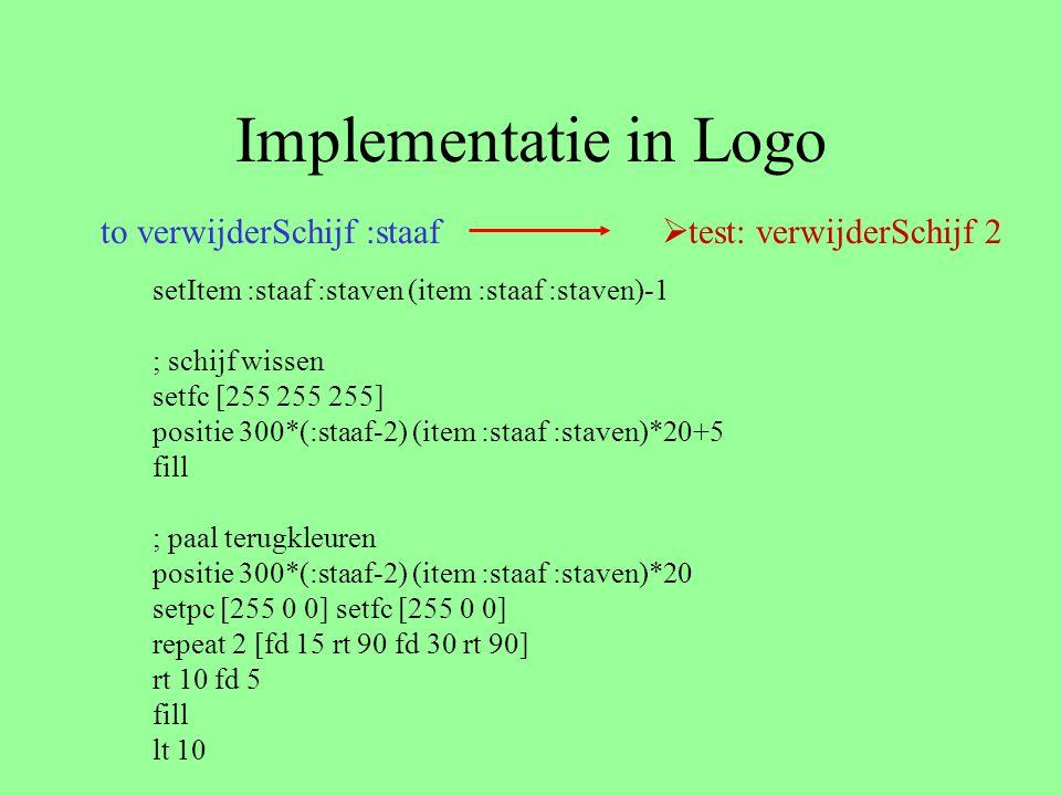 Implementatie in Logo to verwijderSchijf :staaf