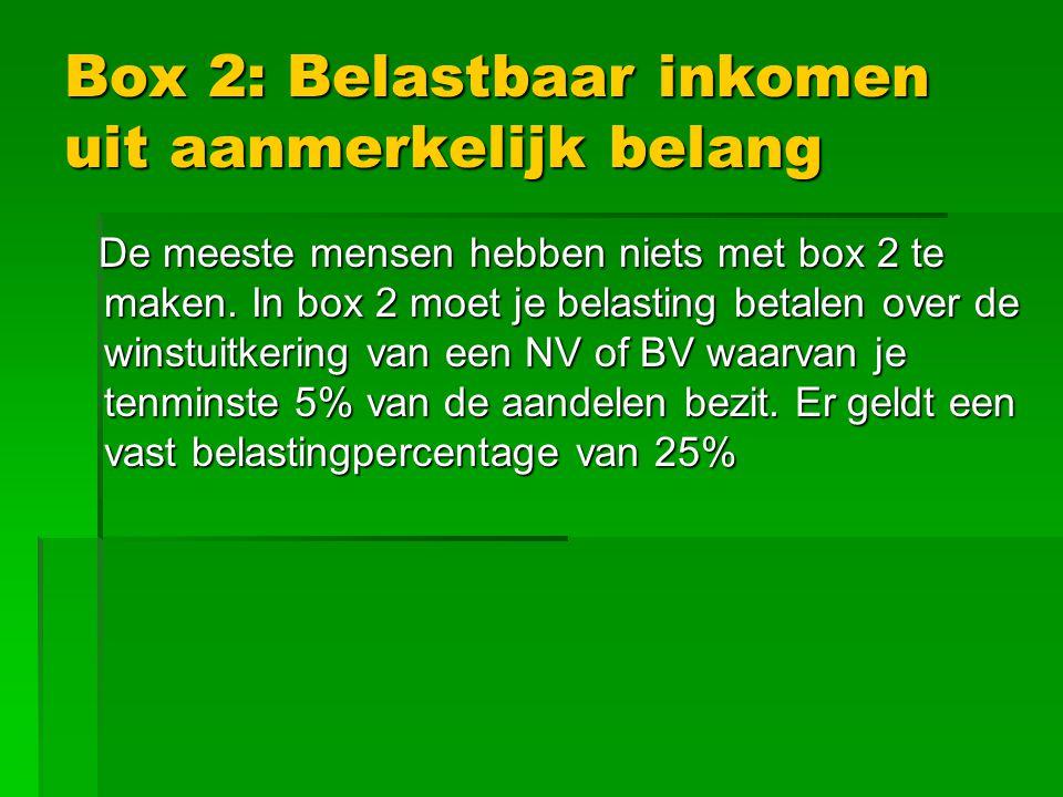 Box 2: Belastbaar inkomen uit aanmerkelijk belang