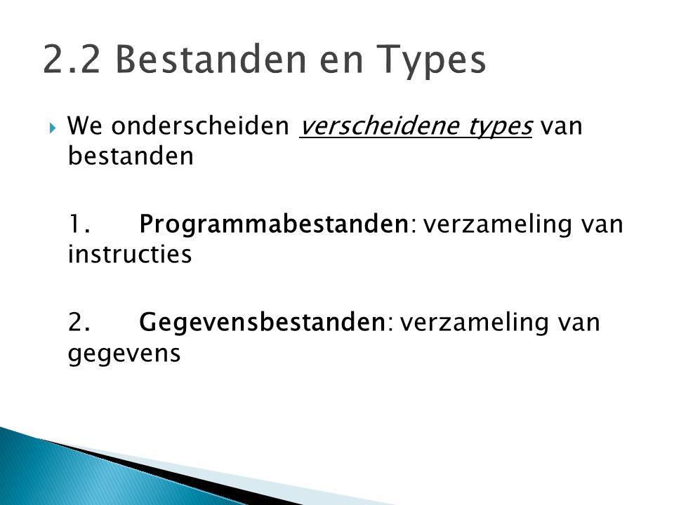 2.2 Bestanden en Types We onderscheiden verscheidene types van bestanden. 1. Programmabestanden: verzameling van instructies.