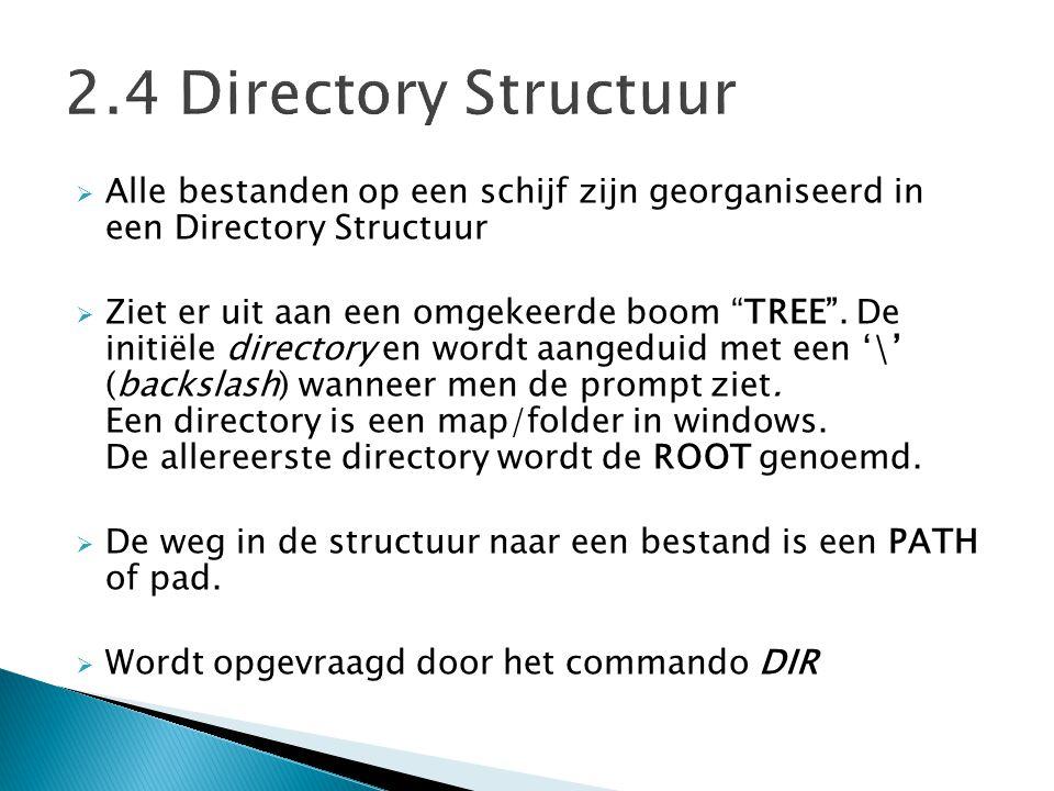 2.4 Directory Structuur Alle bestanden op een schijf zijn georganiseerd in een Directory Structuur.