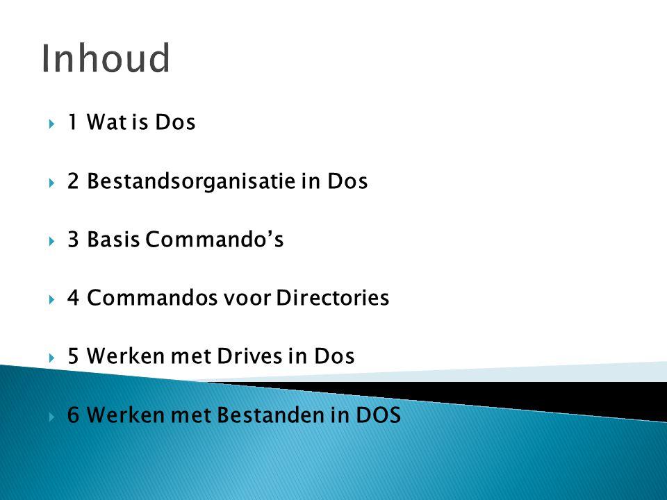 Inhoud 1 Wat is Dos 2 Bestandsorganisatie in Dos 3 Basis Commando's
