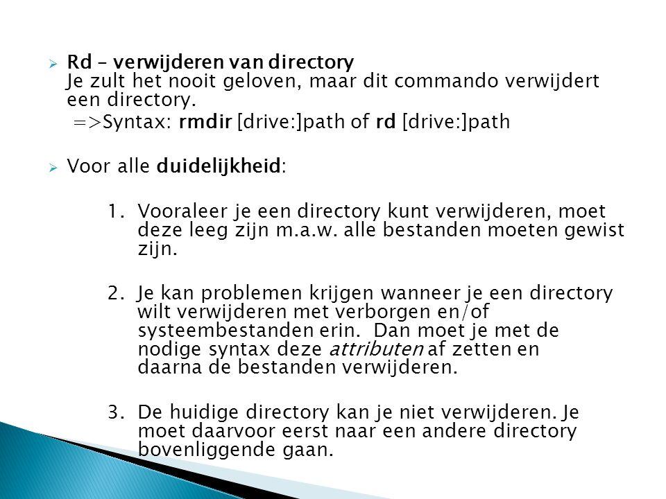 Rd – verwijderen van directory