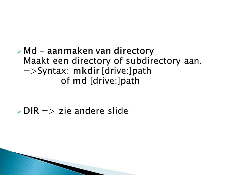 Md – aanmaken van directory