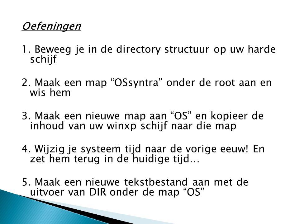 Oefeningen 1. Beweeg je in de directory structuur op uw harde schijf. 2. Maak een map OSsyntra onder de root aan en wis hem.