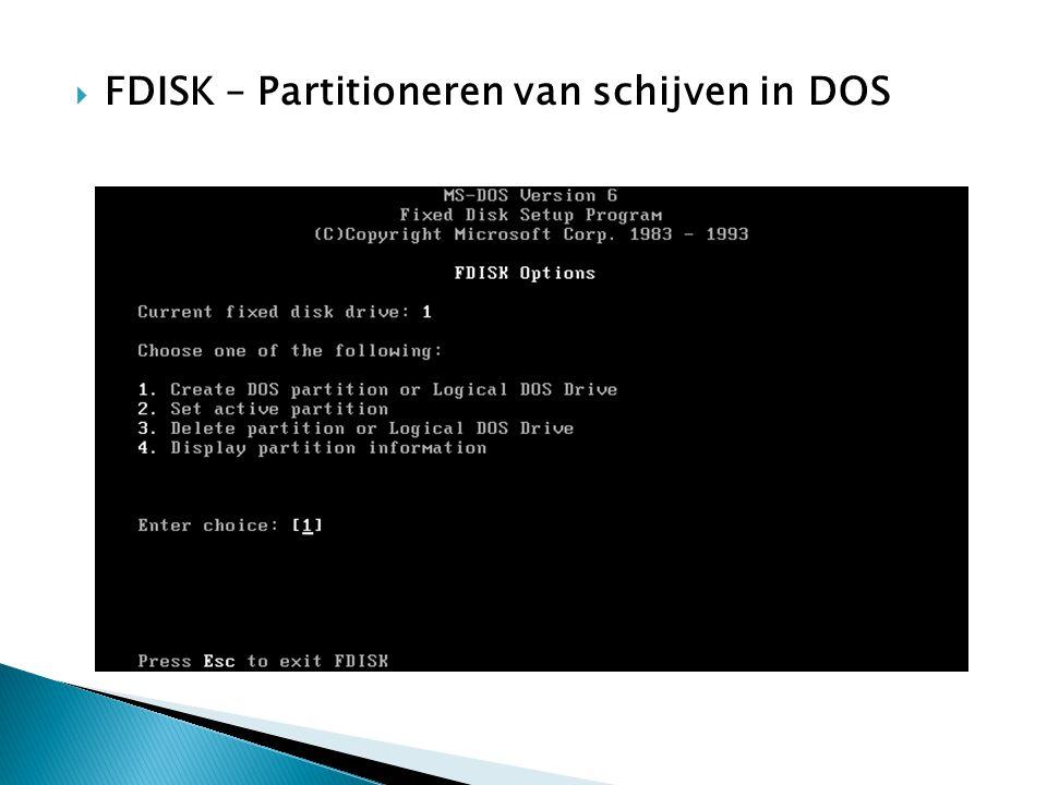 FDISK – Partitioneren van schijven in DOS