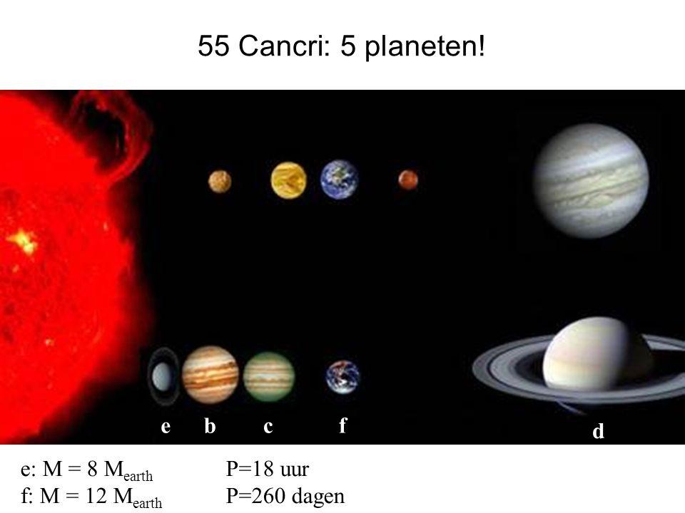 55 Cancri: 5 planeten! e b c f d e: M = 8 Mearth P=18 uur