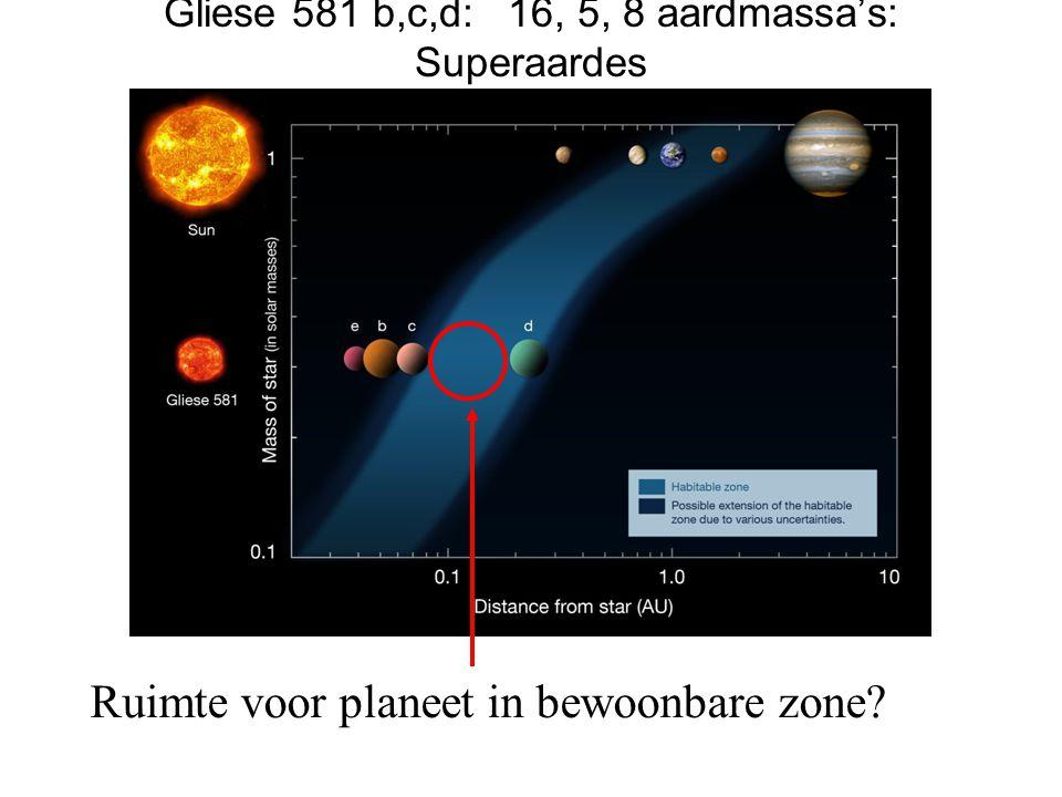 Gliese 581 b,c,d: 16, 5, 8 aardmassa's: Superaardes