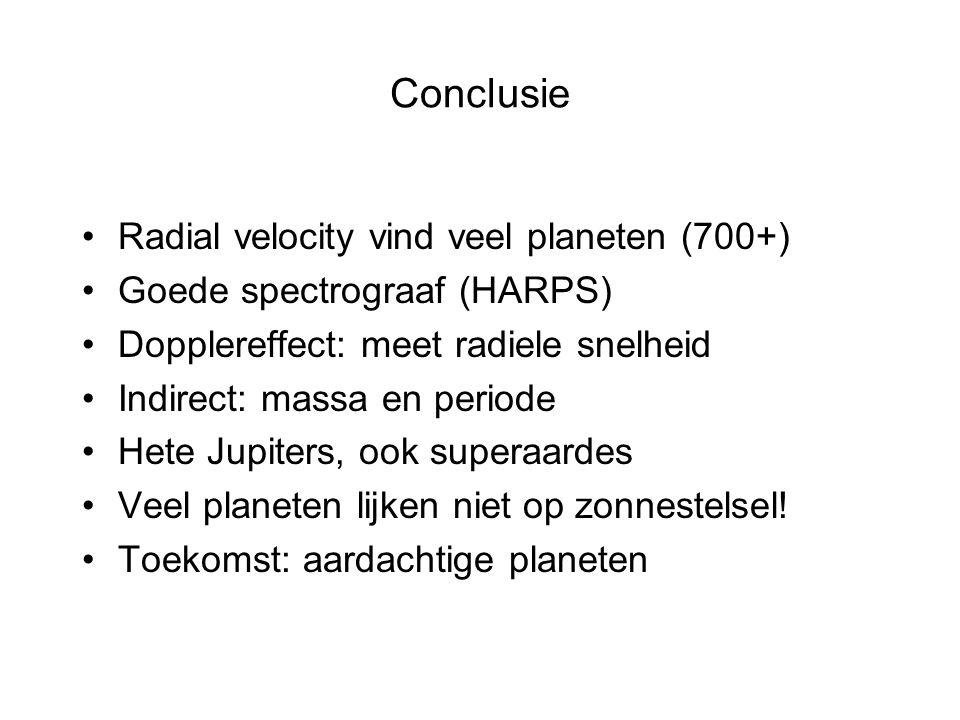 Conclusie Radial velocity vind veel planeten (700+)
