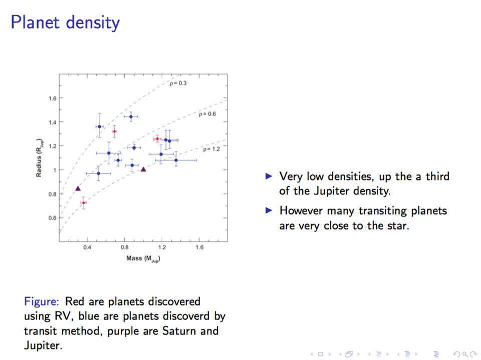 lage dichtheid (transits) -> opgeblazen (51 Peg)
