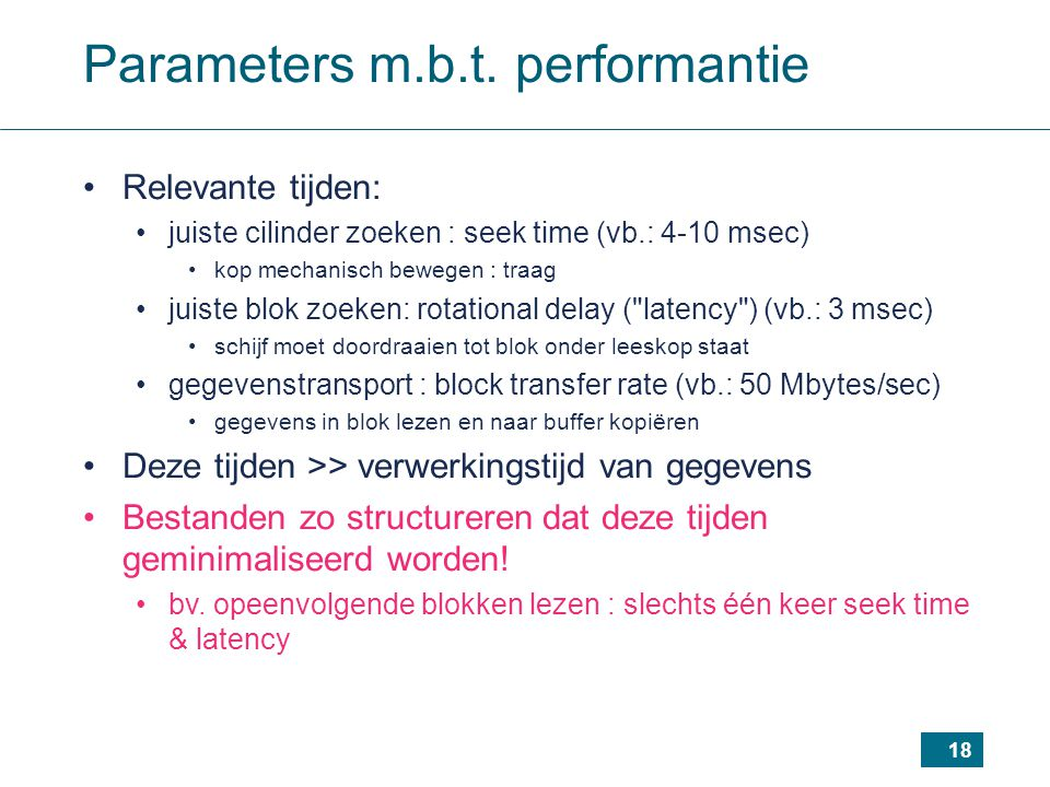 Parameters m.b.t. performantie