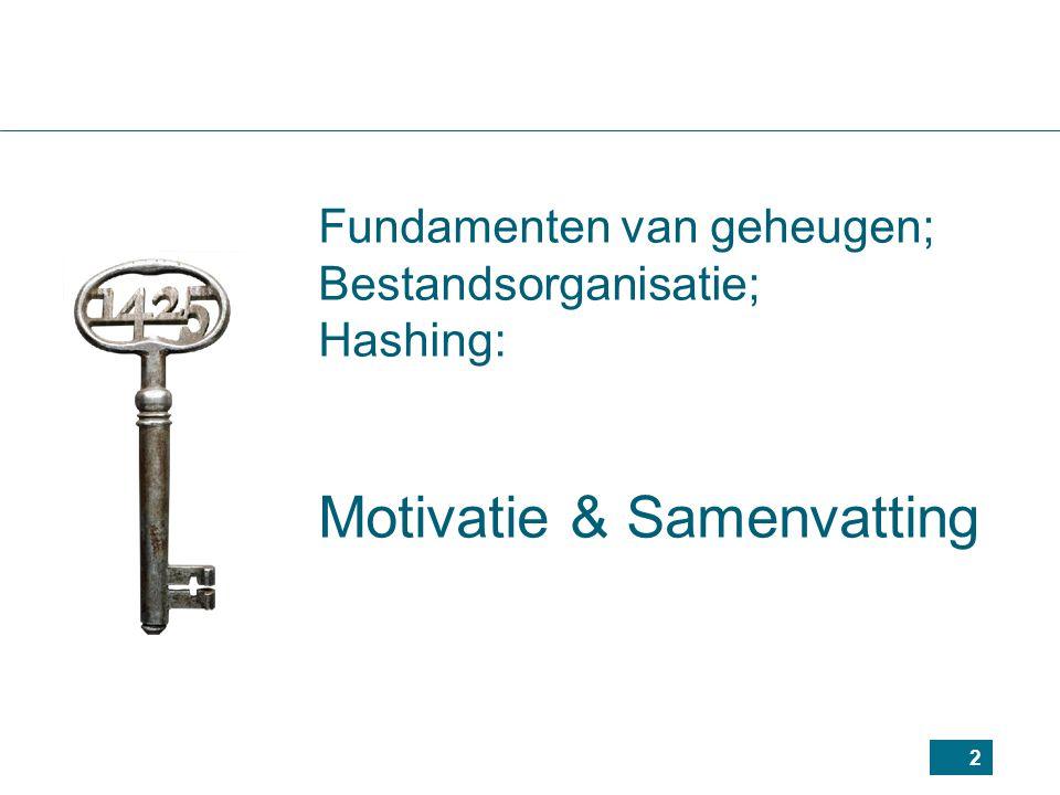 Fundamenten van geheugen; Bestandsorganisatie; Hashing: Motivatie & Samenvatting