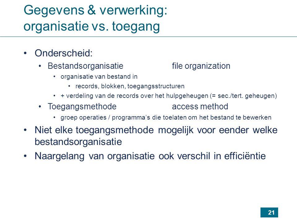Gegevens & verwerking: organisatie vs. toegang