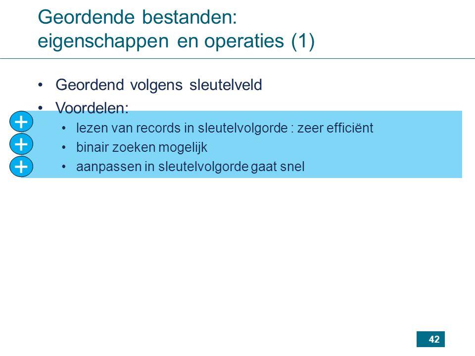 + + + Geordende bestanden: eigenschappen en operaties (1)