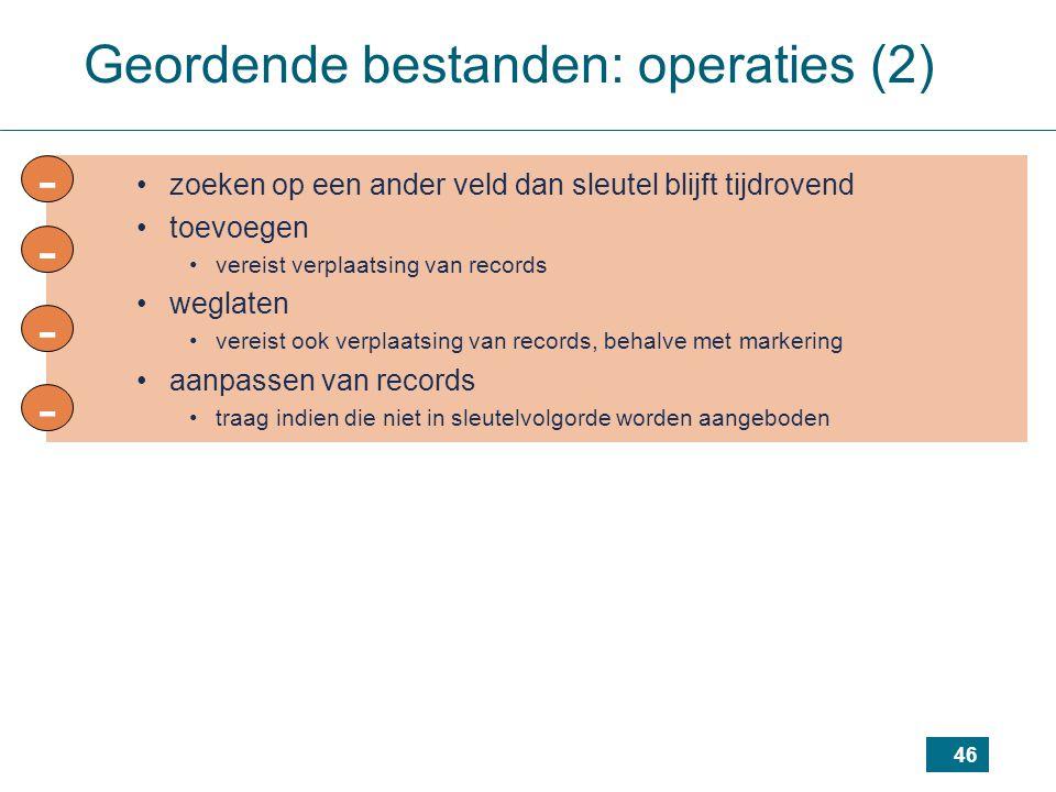 - - - - Geordende bestanden: operaties (2)