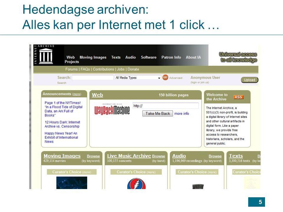 Hedendagse archiven: Alles kan per Internet met 1 click …