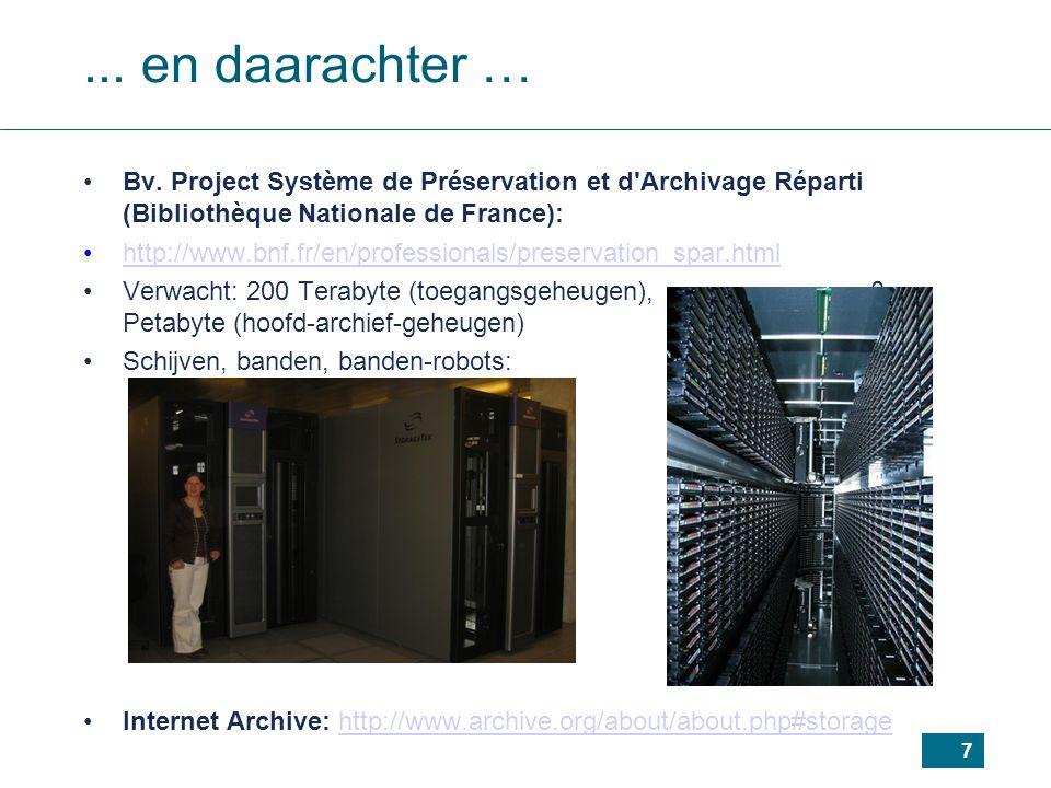 ... en daarachter … Bv. Project Système de Préservation et d Archivage Réparti (Bibliothèque Nationale de France):
