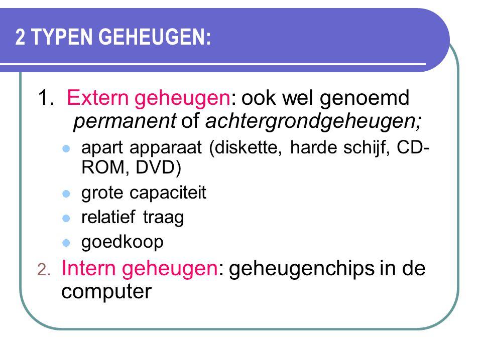 2 TYPEN GEHEUGEN: 1. Extern geheugen: ook wel genoemd permanent of achtergrondgeheugen; apart apparaat (diskette, harde schijf, CD-ROM, DVD)
