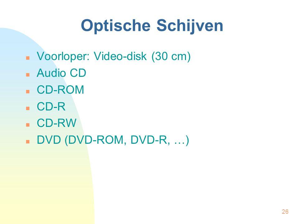Optische Schijven Voorloper: Video-disk (30 cm) Audio CD CD-ROM CD-R