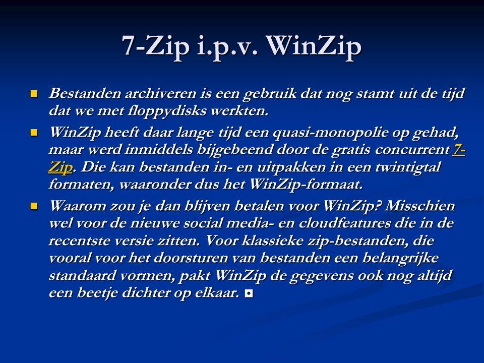 7-Zip i.p.v. WinZip Bestanden archiveren is een gebruik dat nog stamt uit de tijd dat we met floppydisks werkten.