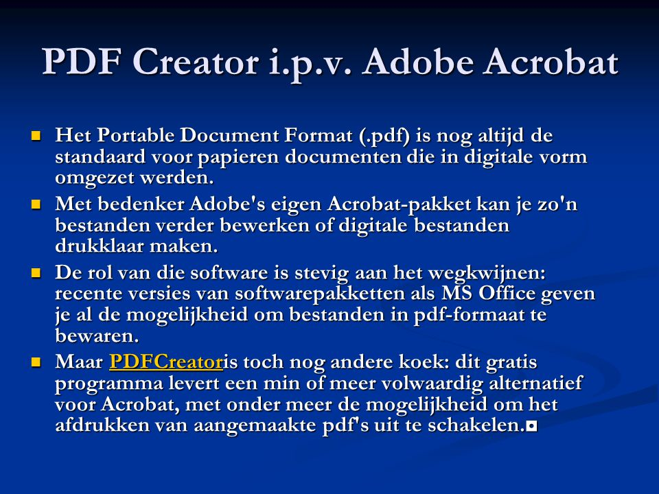 PDF Creator i.p.v. Adobe Acrobat
