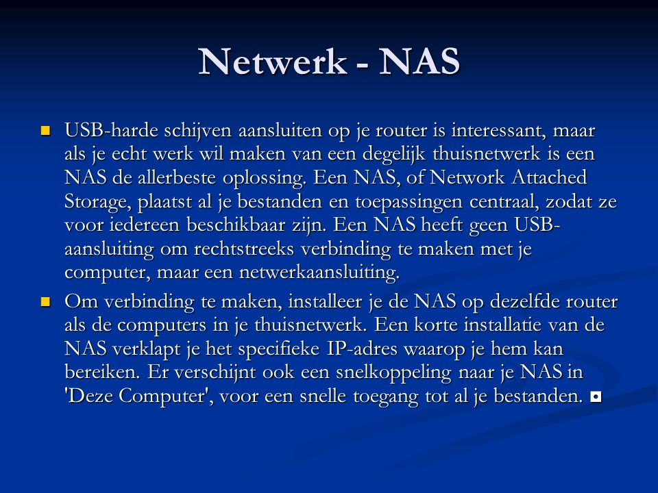 Netwerk - NAS