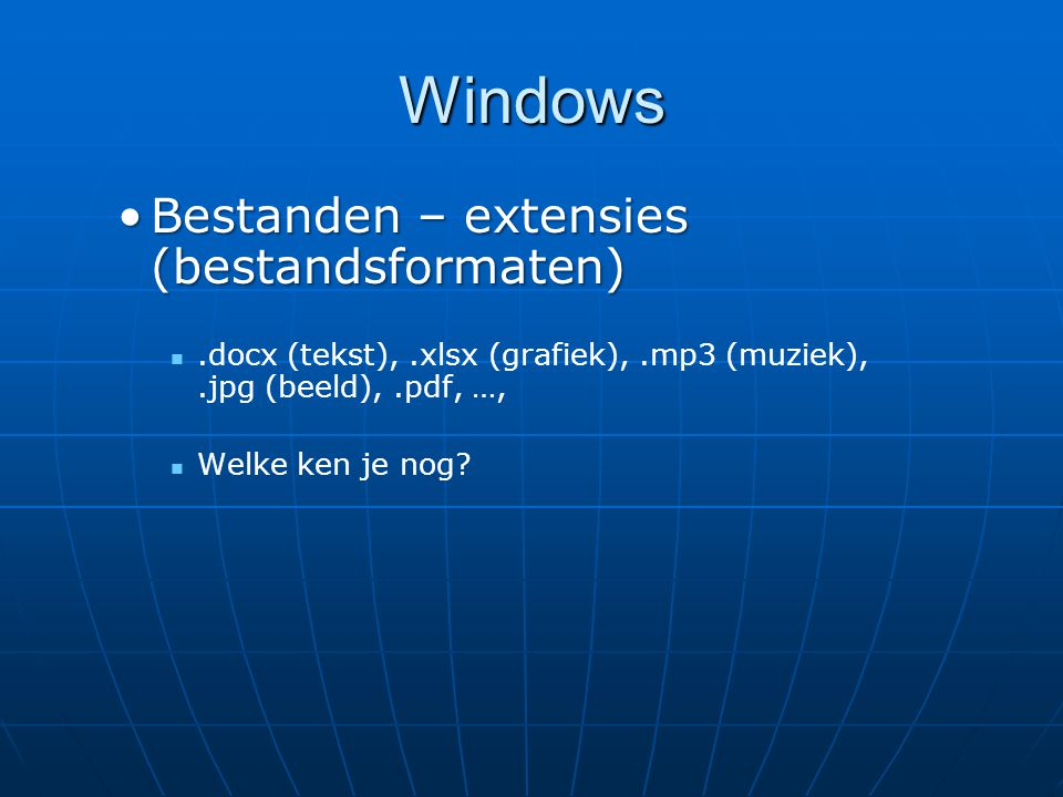 Windows Bestanden – extensies (bestandsformaten)