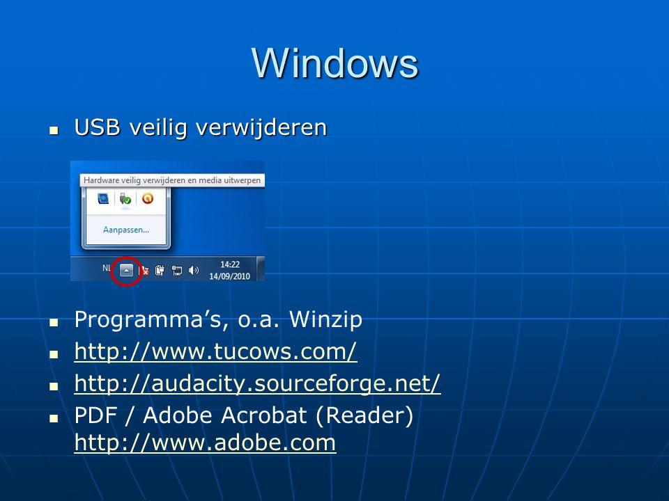 Windows USB veilig verwijderen Programma's, o.a. Winzip