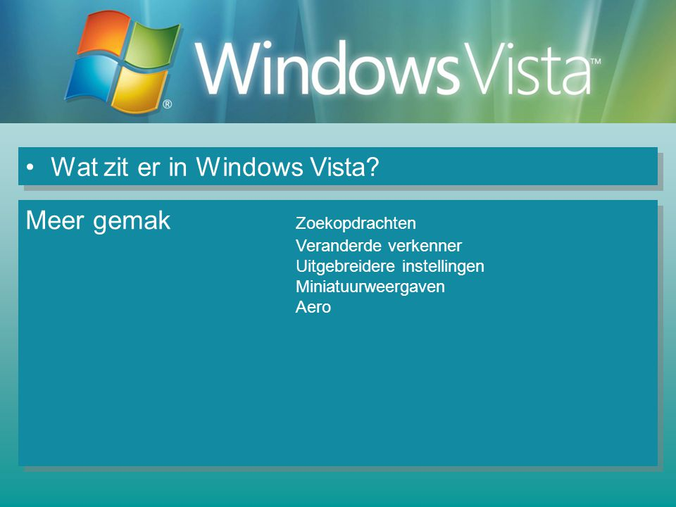 Wat zit er in Windows Vista