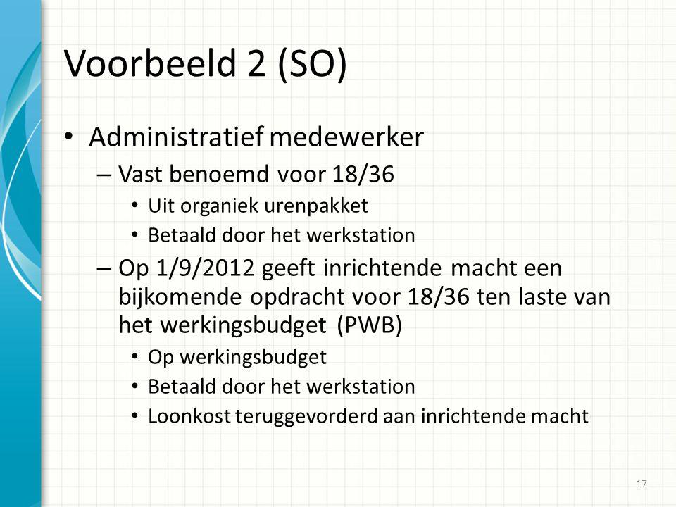 Voorbeeld 2 (SO) Administratief medewerker Vast benoemd voor 18/36