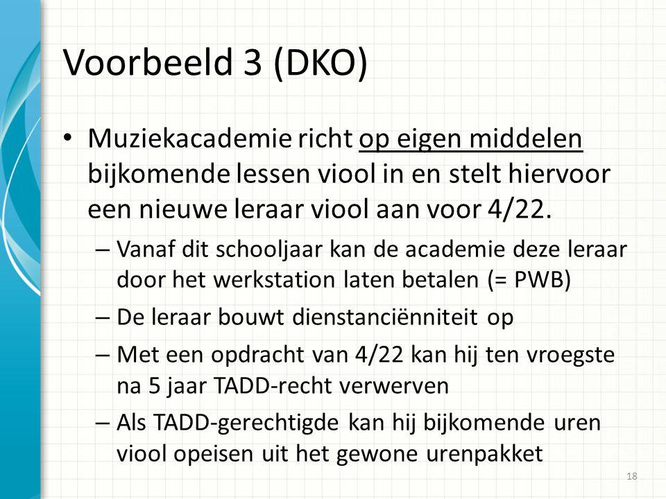 Voorbeeld 3 (DKO) Muziekacademie richt op eigen middelen bijkomende lessen viool in en stelt hiervoor een nieuwe leraar viool aan voor 4/22.
