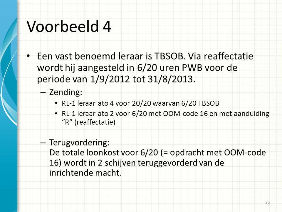 Voorbeeld 4 Een vast benoemd leraar is TBSOB. Via reaffectatie wordt hij aangesteld in 6/20 uren PWB voor de periode van 1/9/2012 tot 31/8/2013.