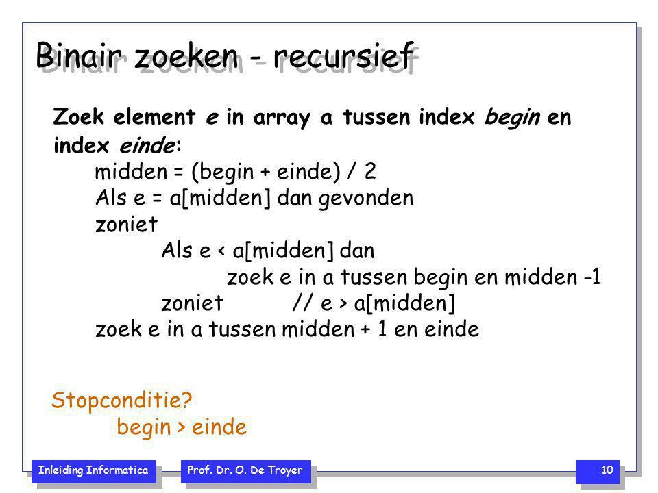 Binair zoeken - recursief