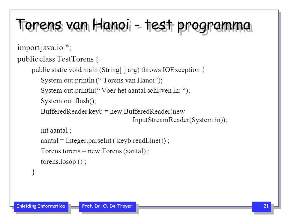 Torens van Hanoi - test programma