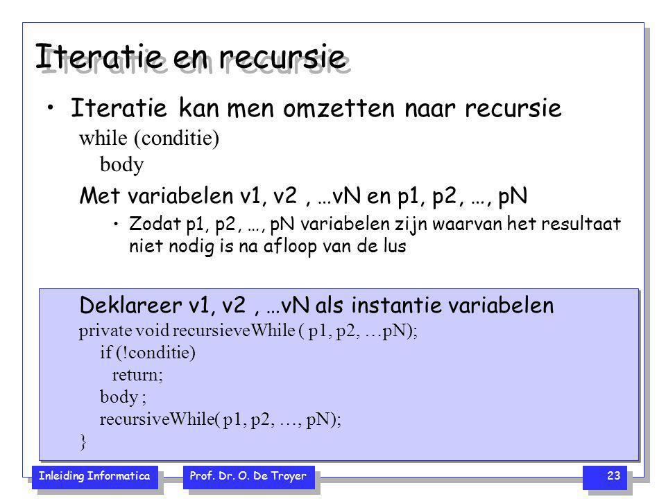 Iteratie en recursie Iteratie kan men omzetten naar recursie