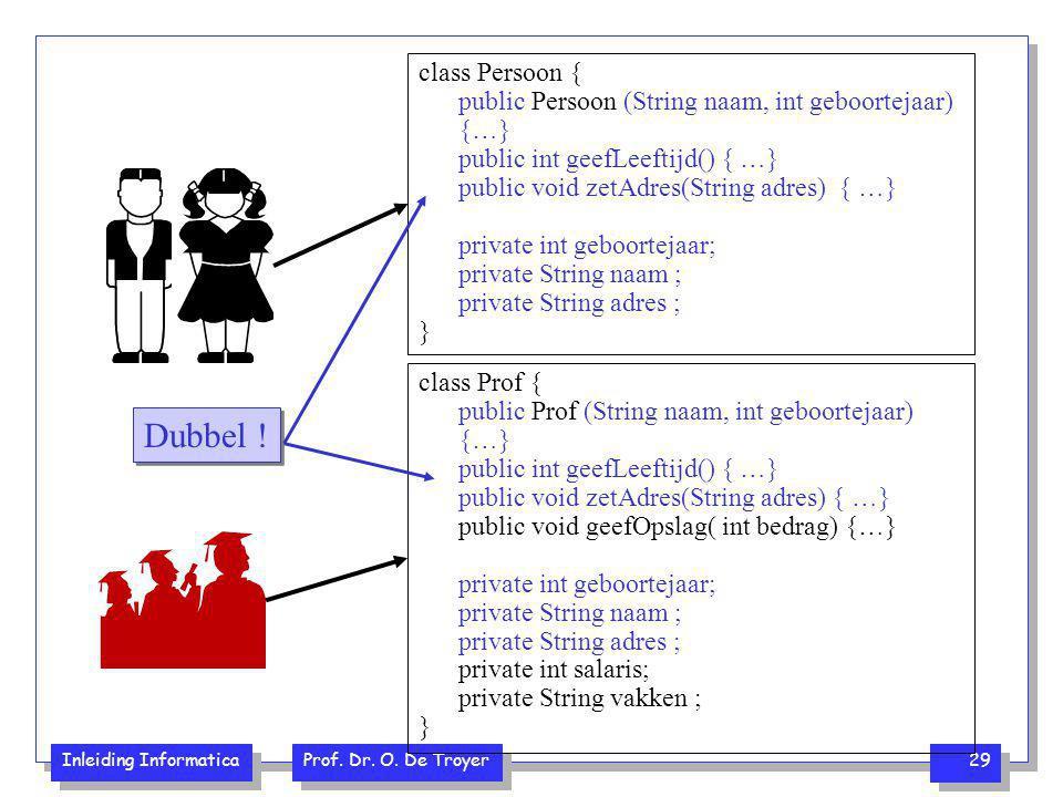 class Persoon { public Persoon (String naam, int geboortejaar) {…} public int geefLeeftijd() { …} public void zetAdres(String adres) { …}