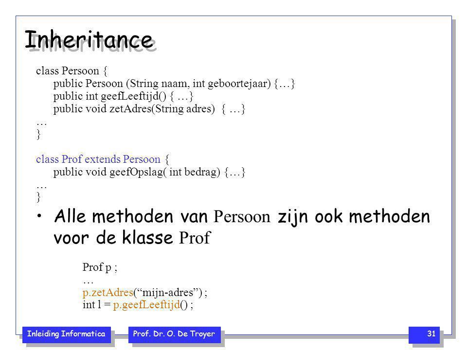 Inheritance class Persoon { public Persoon (String naam, int geboortejaar) {…} public int geefLeeftijd() { …}